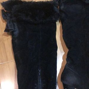 Black suede knee-high boots